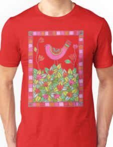 Colorful Bird with Flowers  Unisex T-Shirt