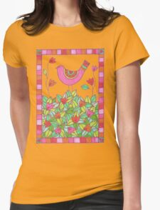 Colorful Bird with Flowers  Womens Fitted T-Shirt