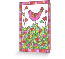 Colorful Bird with Flowers  Greeting Card