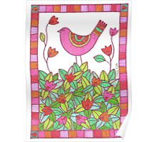 Colorful Bird with Flowers  Poster