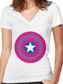 captain bisexual Women's Fitted V-Neck T-Shirt