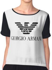 black logo giorgio armani Chiffon Top