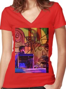 Animal Collective Concert Women's Fitted V-Neck T-Shirt