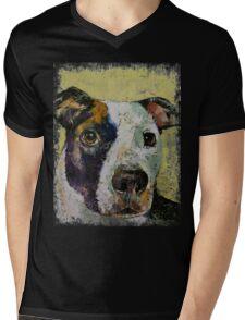 Pit Bull Portrait Mens V-Neck T-Shirt