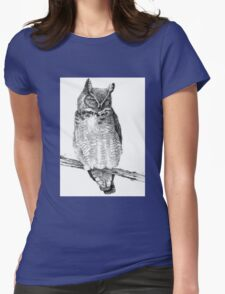Sketch of Barn Owl Womens Fitted T-Shirt