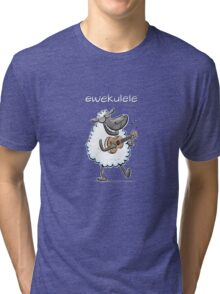 Ewekulele - a sheep and a ukulele Tri-blend T-Shirt