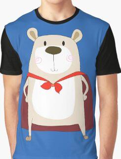 Cute Cartoon Bear Super Hero Graphic T-Shirt