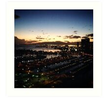 Honolulu lagoon & beach - lanterns at twilight Art Print