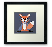Silly Cartoon Animals Red Fox Superhero Framed Print