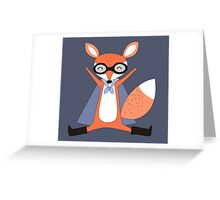 Silly Cartoon Animals Red Fox Superhero Greeting Card