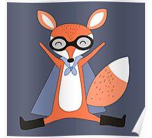 Silly Cartoon Animals Red Fox Superhero Poster