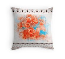 Roses in Painting Art Throw Pillow