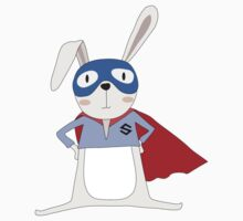 Cute Cartoon Animals Bunny Rabbit Super Hero Kids Tee