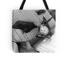Black and White Clock with Book Tote Bag
