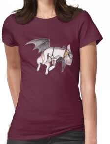 If Pigs Could Fly - on blue Womens Fitted T-Shirt