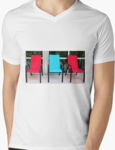 Red And Blue Chairs Mens V-Neck T-Shirt