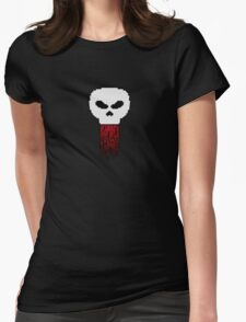 Pixel Art - Skull With Blood Womens Fitted T-Shirt