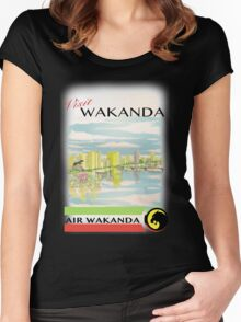 Visit Wakanda- Vintage Travel Ad Women's Fitted Scoop T-Shirt
