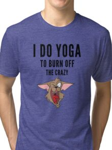 Yoga, funny Crazy Cartoon  Tri-blend T-Shirt