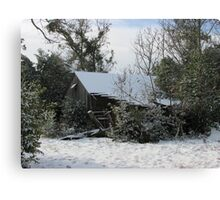 A Fallen Barn In The Fallen Snow Canvas Print