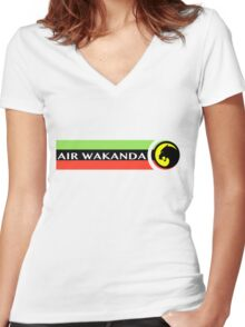Air Wakanda- Logo Women's Fitted V-Neck T-Shirt