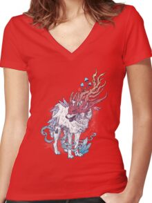 Spirit Animal - Wolf Women's Fitted V-Neck T-Shirt