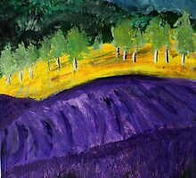 Lavender Fields Colorful Countryside Purple Flowers Acrylic Painting by JamesPeart