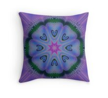 Blue fractal blooming Throw Pillow
