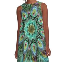 Colorful Peacock Feather Kaleidoscope A-Line Dress