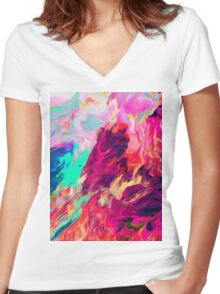 Genef Women's Fitted V-Neck T-Shirt