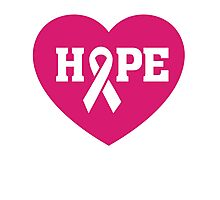 Breast Cancer Awareness - Hope Pink Ribbon T Shirt Photographic Print