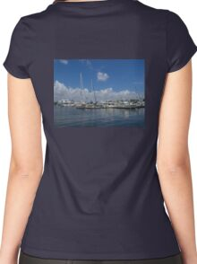A Fort Lauderdale Marina on a Sunny Day Women's Fitted Scoop T-Shirt