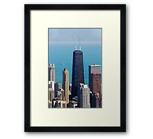 Aerial view of Chicago IL The John Hancock building Framed Print