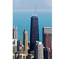 Aerial view of Chicago IL The John Hancock building Photographic Print