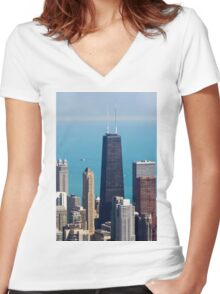 Aerial view of Chicago IL The John Hancock building Women's Fitted V-Neck T-Shirt