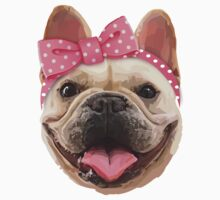 Cute Bulldog with Headband Kids Tee