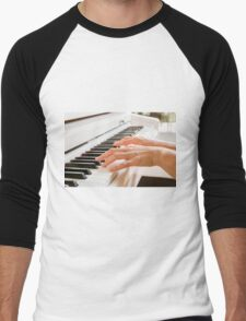 fingers and hands of a woman playing a white piano  Men's Baseball ¾ T-Shirt