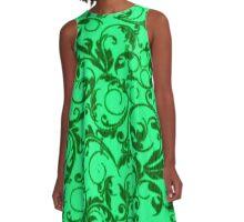 Vintage Swirls Green A-Line Dress
