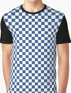 Delphinium Blue and White Classic Checkerboard Repeating Pattern Graphic T-Shirt