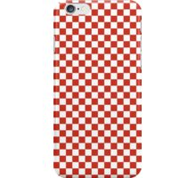 Dahlia Red and White Classic Checkerboard Repeating Pattern iPhone Case/Skin