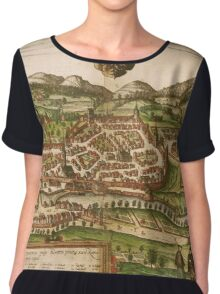 Kempten Vintage map.Geography Germany ,city view,building,political,Lithography,historical fashion,geo design,Cartography,Country,Science,history,urban Chiffon Top