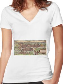 Konigsberg Vintage map.Geography Germany ,city view,building,political,Lithography,historical fashion,geo design,Cartography,Country,Science,history,urban Women's Fitted V-Neck T-Shirt