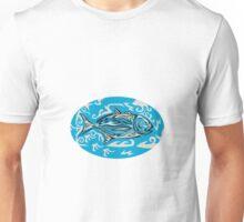 Giant Trevally Side Oval Tribal Art Unisex T-Shirt