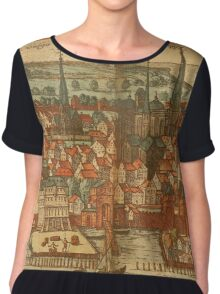 Konstanz Vintage map.Geography Germany ,city view,building,political,Lithography,historical fashion,geo design,Cartography,Country,Science,history,urban Chiffon Top