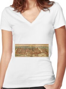 Konstanz Vintage map.Geography Germany ,city view,building,political,Lithography,historical fashion,geo design,Cartography,Country,Science,history,urban Women's Fitted V-Neck T-Shirt