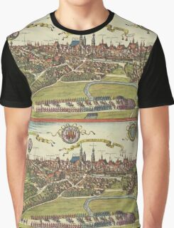 Krakow Vintage map.Geography Poland ,city view,building,political,Lithography,historical fashion,geo design,Cartography,Country,Science,history,urban Graphic T-Shirt