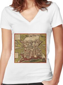 La Rochelle Vintage map.Geography France ,city view,building,political,Lithography,historical fashion,geo design,Cartography,Country,Science,history,urban Women's Fitted V-Neck T-Shirt