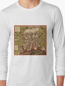 La Rochelle Vintage map.Geography France ,city view,building,political,Lithography,historical fashion,geo design,Cartography,Country,Science,history,urban Long Sleeve T-Shirt