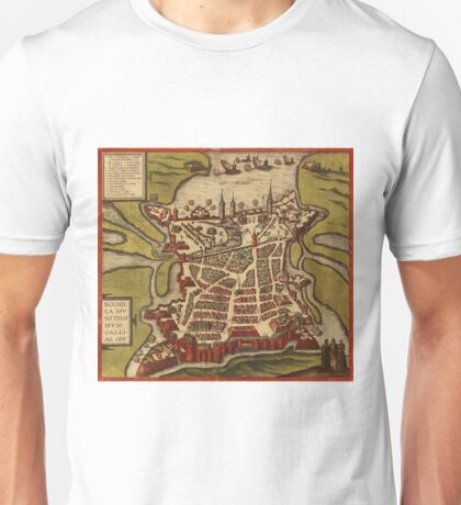 La Rochelle Vintage map.Geography France ,city view,building,political,Lithography,historical fashion,geo design,Cartography,Country,Science,history,urban Unisex T-Shirt