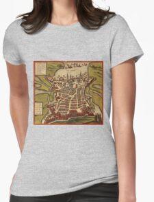 La Rochelle Vintage map.Geography France ,city view,building,political,Lithography,historical fashion,geo design,Cartography,Country,Science,history,urban Womens Fitted T-Shirt